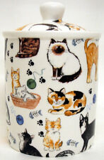 Cats Collage Canister Fine Bone China Cats Ceramic Storage Jar Hand Decorated UK