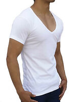 NEW mens PLAIN WHITE DEEP V NECK T-SHIRT SLIM FIT CASUAL S - 2XL MUSCLE GYM