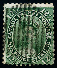 Canada 1859, 12 1/2 Cents. Yel Green SC# 18. Wove Grill Cancel. Hinge Fine Used