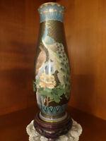 Vase chinois bronze cloisonné fin XIXe décor paons.