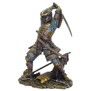 "NEW! 9.5"" Japanese Samurai Warrior in Combat Bronze Finish Statue Figurine 6148"