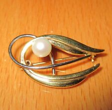 STUNNING SECONDHAND 9ct 2 TONE GOLD PEARL BROOCH