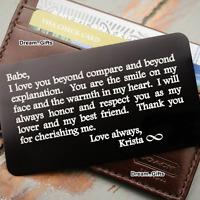 Keepsake Wedding Anniversary Birthday Gifts for Him Men Women Wallet Insert W8