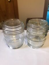 Vintage 1950s Porch Light Jelly Banded Clear Glass Globe Covers Bulbous Set of 2