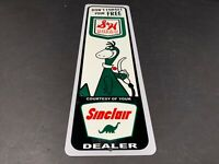 "VINTAGE SINCLAIR GASOLINE AND S & H GREEN STAMPS 15"" METAL GAS & OIL SIGN W DINO"