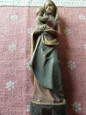 Madonna mit Kind bemalt sehr gut erhalten alt  18 cm Holz
