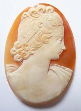camée sur coquillage femme Bijou ancien vers 1920 cameo
