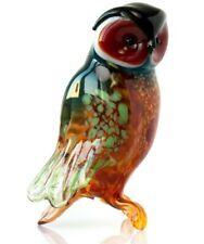 Owl Blown Glass Sculpture, Russian Art, Home Decor Rainbow Bird Figurine