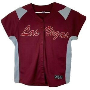 Russell Athletic Womens XL Embroidered Las Vegas Maroon Baseball Jersey Shirt