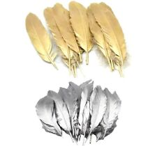 Beautiful Large Gold Silver Goose Feathers Arts Crafts Hat Costume Wedding 6-9''