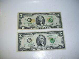 Rare Discoloration 1976 Two Dollar Bill $2 Consecutive Serial Numbers Set of Two