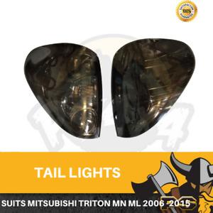 Smokd Tail Lights to suit Mitsubishi Triton 2006-2015 ML MN Rear lights Black