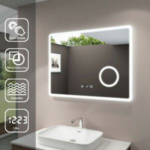 Badspiegel mit LED Beleuchtung Make-up Spiegel Touch Beschlagfrei Uhr 80x60cm