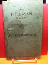 The Hillman Mark VII Owner's Handbook 1953 Original