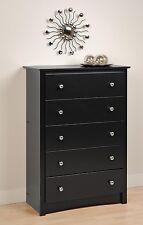 Bedroom Sonoma 5 Drawer Dresser / Chest - Black - NEW