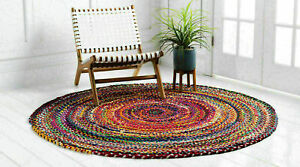Rug 100% Cotton Braided 6x6 Feet Reversible Carpet Modern Living Area Rag Rug