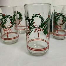 Vintage Libbey Christmas Wreath & Ribbon 12 oz Tumbler Set of 4 Holiday Glasses