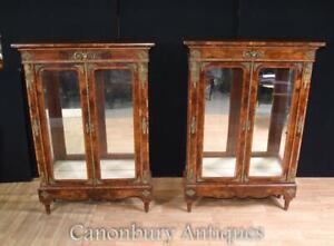 Pair Antique Pier Cabinets - English Burr Walnut Victorian (Circa 1890)