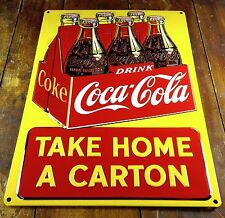 COCA COLA COKE SODA POP TAKE HOME CARTON HIGHLY EMBOSSED METAL ADVERTISING SIGN