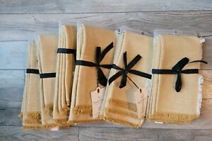 Hearth and Hand with Magnolia Linen & Cotton Golden Napkins Lot of 6 Sets NEW