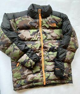The North Face Boys Aconcagua Down Jacket Coat 550 Fill Green /Camo Med 8-10
