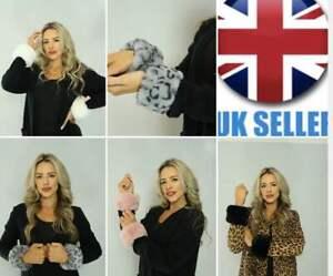Women 1/Pair Faux Fur Cuff Hand Wrist Warmer Fluffy Wrist Band Arm Warmer UK