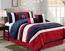 Luxurious 7 PCS Embroidered Comforter Set NAVY BLUE, BLACK, WHITE, RED Pin Tuck.