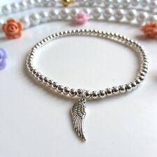 Silver plated ball beads Wish Bracelet Lucky Angle Wing, feather stacker Boho