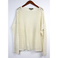 PLY CASHMERE Size Small Ivory Open Knit Pullover Sweater