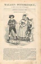 Costume Robe Veste Chasseur Colporteur Mode Canton de Berne Suisse GRAVURE 1837