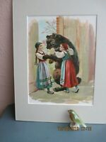 antique chromolithograph illustration of Snow White and Rose Red with bear 1899