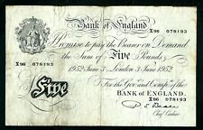 More details for bank of england (p344) 5 pounds london 1952 beale
