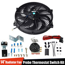 "14"" Inch Electric Radiator Engine Fan+Adjustable Fin Probe Thermostat Switch Kit"