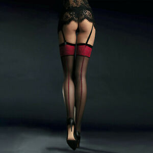 Fiore Sensual Scarlett 20 Stockings - Black with Red Back Seam & Top Pattern