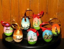 Dipinti A MANO Bambola Russa Khokhloma Set 7 Albero di Natale Rosso Nero Babushka uova