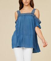Dusty Blue Blouse Size UK 16 Ladies Lace Cutout Tunic Top rrp £29.99 BNWT #633