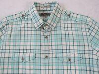 Express Men's Fitted L/S Button Down White & Blue Plaid Dress Shirt - M 15-15.5
