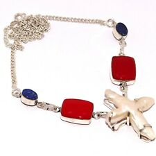 """Silver Plated Necklace 17"""", Ab-7792 Biwa Pearl Red Coral 925"""