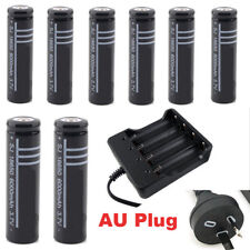 8x 18650 Rechargeable Battery + Charger LI-ION Flashlight Protected AU stock