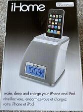 iHome White & Gray Alarm Clock iPhone / iPod Speaker Dock w/ Power Supply iP21