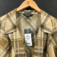 NWT Ralph Lauren Women's Brown Plaid Wrap Blouse Long Sleeve Shirt Top sz 1X