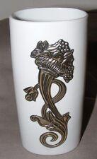 Florero De Porcelana De Limoges Con Decoración Floral Plata Real