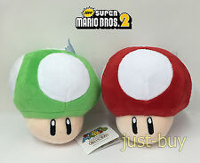 2X New Super Mario Bros. Plush Super 1-UP Mushroom Soft Toy Doll Teddy 5.5""