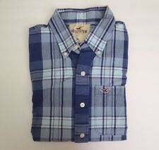 Hollister Men Button Down Plaid Dress Shirt Size XL Blue & White