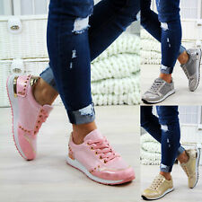 New Womens Lace Up Trainers Flat Bali Studs Walking Sports Ladies Shoes Sizes