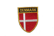 Denmark Country Flag Oval Shield Flag Embroidered Iron-On Patch Crest Badge