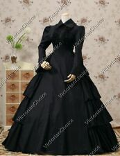 Victorian Maid Gothic Black Dress Witch Ghost Steampunk Halloween Costume 007 M