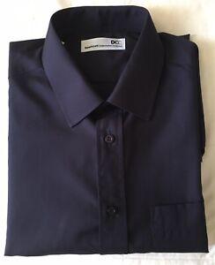 "Mens Navy Long Sleeved Shirt 17"" Collar"