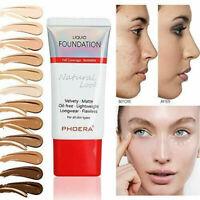 PHOERA 24 Hours Lasting Full Coverage Liquid Foundation Velvety Matte Makeup