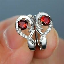 Delicate 1.30 CT Round Cut Red Ruby Huggie Hoop Earrings 14K White Gold Finish